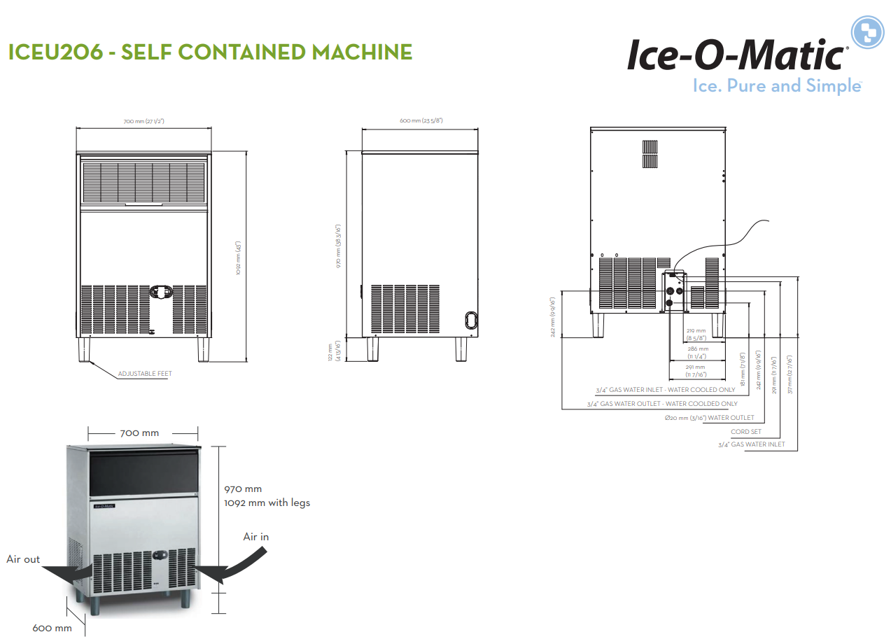 Classeq Iceu206p Ice O Matic Shot Style Cube Ice