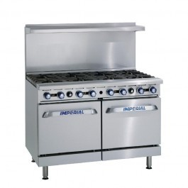 Imperial IR-8 Eight Burner Range with Two Space Saver Ovens