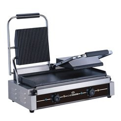 Chefmaster HEA751 Double Contact Grill with Ribbed Top & Flat Bottom Plates