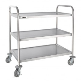 Vogue F995 Stainless Steel 3 Tier Clearing Trolley Large Capacity 128kg