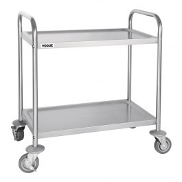 Vogue F998 Stainless Steel 2 Tier Clearing Trolley Large Capacity 128kg