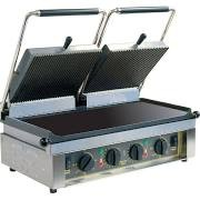 Roller Grill MAJESTIC L double Contact Grill with Flat Base, Ribbed Top