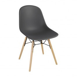 Bolero DM841 Charcoal Polypropylene Arlo Shell Side Chair with Steel Frame - Pack 2