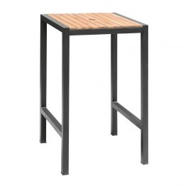 Bolero DS155 Acacia Wood Top and Steel Base Square Bar Table - 600mm