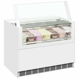 ISA ONESHOW FREE Large White Flat Glass Scoop Ice Cream Display