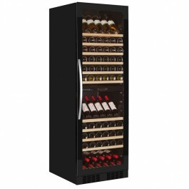 Tefcold TFW365-2 FRAMELESS Black Glass Door Wine Cooler with Tinted Glass