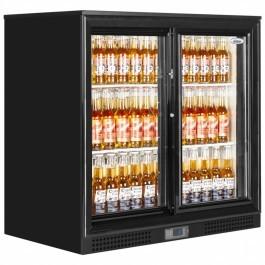 Elstar EM231S Black Back Bar Bottle Cooler with Sliding Doors