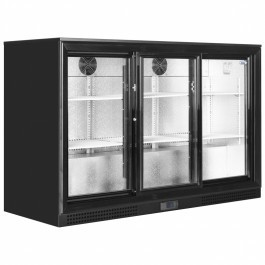 Elstar EM331S Black Back Bar Bottle Cooler with Triple Sliding Doors
