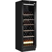Interlevin SC381WB Upright Black Wine Cooler with Wooden Shelves