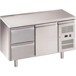 Chefsrange RC2H2D Two Door 1/1GN Size Fridge Counter & 2 Drawers & Casters
