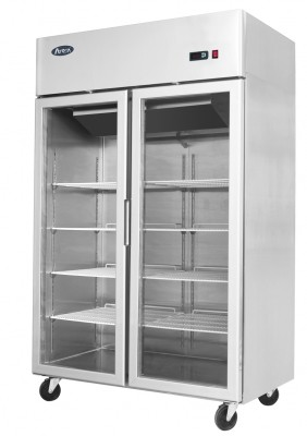 Atosa YCF9402GR Stainless Steel Twin Door Display Refrigerator