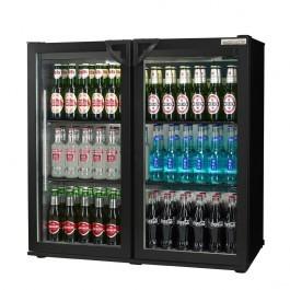 Autonumis A21089 Popular Maxi Black Hinged Double Door Bottle Cooler