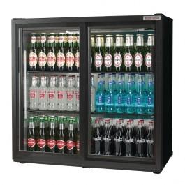 Autonumis A21094 Popular Maxi Black Sliding Double Door Bottle Cooler