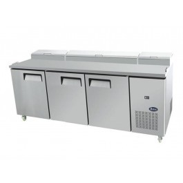 --- Atosa MPF8203 --- 3 Door Counter Fridge with 12 x 1/3 GN Pans & Cutting Board