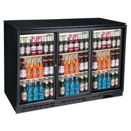 Blizzard BAR3SL Back Bar Triple Sliding Door Black Bottle Cooler