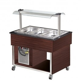 Blizzard BB3-COLD-WE Wenge Cold Display with Granite 3 GN 1/1 Top & Canopy
