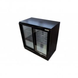 --- BELMONT BC9027K --- Sliding Double Door Black Bottle Cooler with LED Lighting