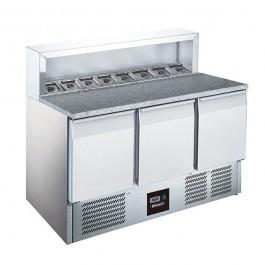 Blizzard BCC3PREPGRANITE Triple Door 368 Litre Gastronorm Pizza Prep Counter