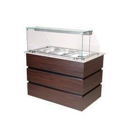 Blizzard BCD1250 Flat Glass Wenge 3 x GN 1/1 Cold Display Counter