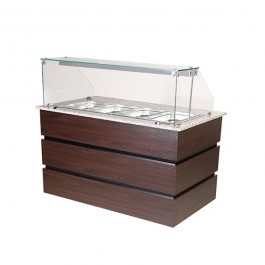 Blizzard BHD1570 Flat Glass Wenge 4 x GN 1/1 Hot Display Counter