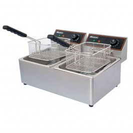 Blizzard BF8+8 Twin Tank Countertop Electric Fryer with Drain Tap