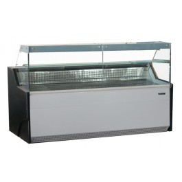 Blizzard BFG150WH White Serve Over Counter with Flat Display Glass
