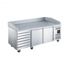 Blizzard BPB2000-7N Triple Refrigerated Prep Counter with Granite Work Top