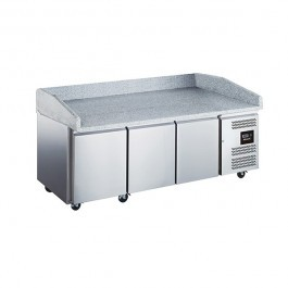 Blizzard BPB2000 Three Door Refrigerated Prep Counter with Granite Work Top