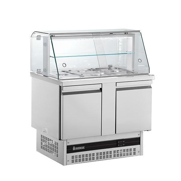 Inomak BSV7300-HC Twin Door Compact Gastronorm Saladette with Display 232 Litre