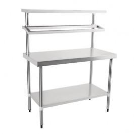 Vogue CB908 Stainless Steel Prep Station with 2 Gantry GN 1/1 Shelves - W1200