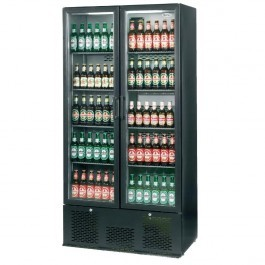 --- INFRICO ZX20 --- Upright Charcoal Bottle Cooler with Double Black Hinged Door