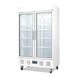 Polar CD984 White Upright Double Glass Door Refrigerator