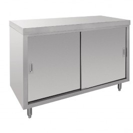 Vogue CE151 Stainless Steel Floor Standing Cupboard With Centre Shelf - 1200mm