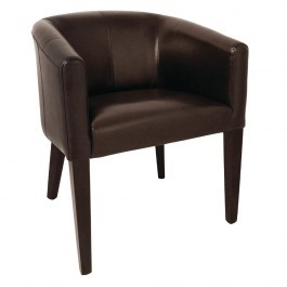 Bolero CE593 Dark Brown PU Leather & Beech Frame Tub Armchair