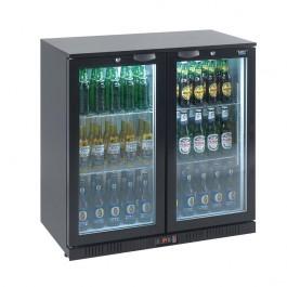 Lec Commercial BC9007K LED Standard Hinged Twin Door Black Bottle Cooler