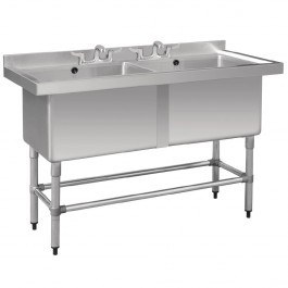 Vogue CF406 Double Deep Pot Sink With Upstand & Waste Kit- W1410mm