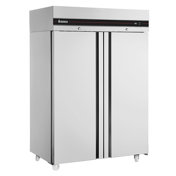 Inomak CEP2144 Double Door Upright GN 2/1 Fridge with 4 Shelves - 1432L