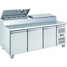 Chefsrange SP370 Three Door Prep Counter with 10 x 1/3 GN Topping Well