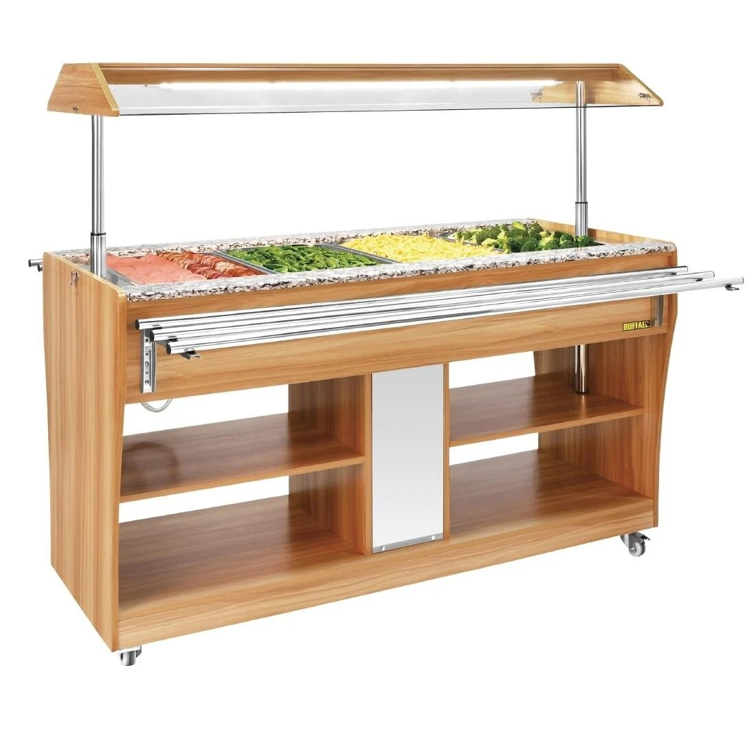Buffalo CR904 Light Wood Heated Buffet Bar with  Sneeze Guard