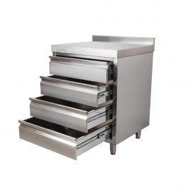 Vogue CR988 Stainless Steel 4 Drawer Workstation With Upstand