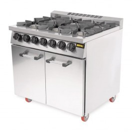 Buffalo CT253 Gas Six Burner 2/1 GN Oven Range with Castors