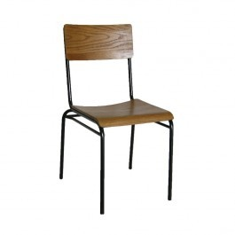 Bolero DA596 Industrial Side Chairs with Metal Base & Plywood Seat - Pack of 2