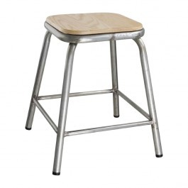 Bolero DE478 Galvanised Steel Low Stools with Wooden Seatpad - Pack of 4