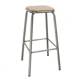 Bolero DE479 Galvanised Steel High Stools with Wooden Seatpad - Pack of 4