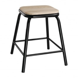Bolero DE481 Cantina Low Stools with Wooden Seat Pad Black - Pack of 4