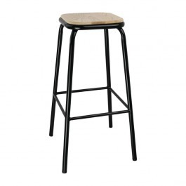 Bolero DE482 Cantina High Stools with Wooden Seat Pad Black - Pack of 4
