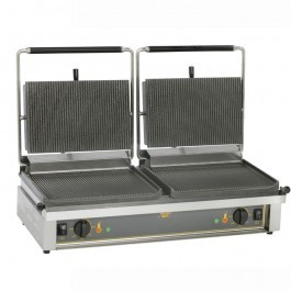 Roller Grill DOUBLE PANINI R Cast Iron Ribbed Top & Bottom Contact Grill