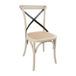 Bolero DR306 Earthwash Bentwood Chairs with Metal Cross Backrest - Box of 2