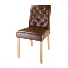 Bolero DT699 Tan Leather Chiswick Button Dining Chair - Pack 2