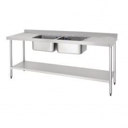 Vogue DY829 Double Sink Double Drainer With Upstand & Standpipe - W2100mm